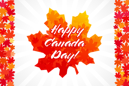 Happy Canada Day vector greetings. Canadian flag elements and colors, Maple leaves, white background, light stripes. National traditional holiday first of July celebrating sign. Price or% off icon.