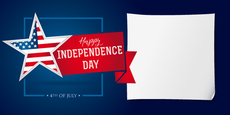 Happy Independence Day USA banner template. United States national holiday Fourth of July greetings, celebrating invitation with star in flag. Vector image.