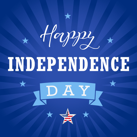 Happy Independence Day USA greetings, stars, blue stripes. United States national american traditional holiday.