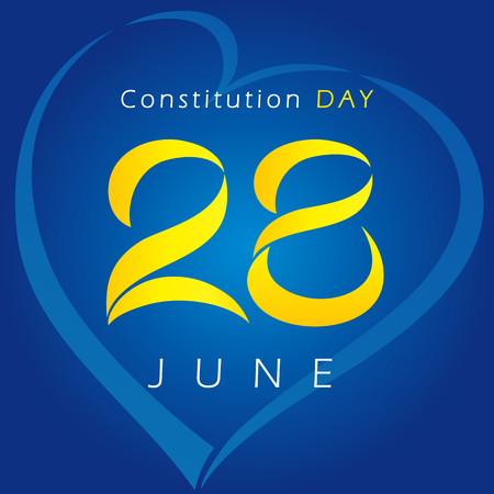 Ukrainian Constitution day vector greetings. National holiday in Ukraine 28th of June logo. Celebrating congratulating 28 anniversary lovely symbol or Valentine's Day sign.