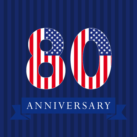 80th: Anniversary 80 US logotype. Template of celebrating congratulating 80 th. Isolated numbers in traditional style on striped abstract blue background. United States patriot greetings or sticker, eight.