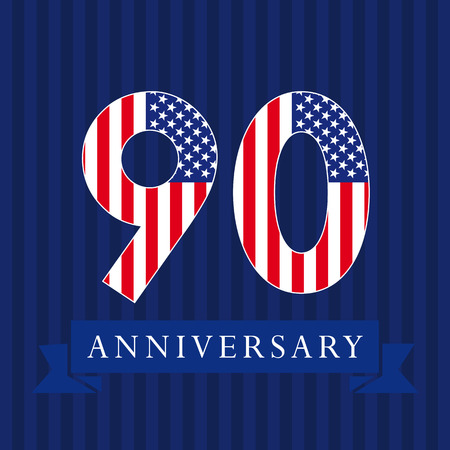 Anniversary 90 US flag logotype. Template of celebrating 90 th. Isolated numbers in traditional style on striped abstract blue background. United States patriot greetings or sticker, nine.