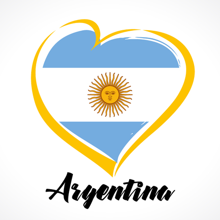 Love Argentina emblem colored. Argentina Independence Day Colorful national flag