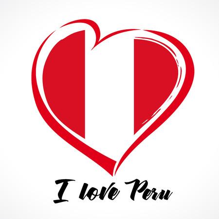 ペルー、愛、フラグ、心、独立、日、背景、ベクター、デザイン、イラストレーション、国、シンボル、記号、以上。  イラスト・ベクター素材