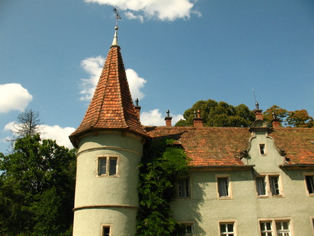 former: Schonborn Palace tower in Chynadiyovo, Carpathians Ukraine. Schonborn Palace, the former residence and hunting lodge of the Counts Schonborn, now sanatorium Carpathians, near the city of Mukacheve