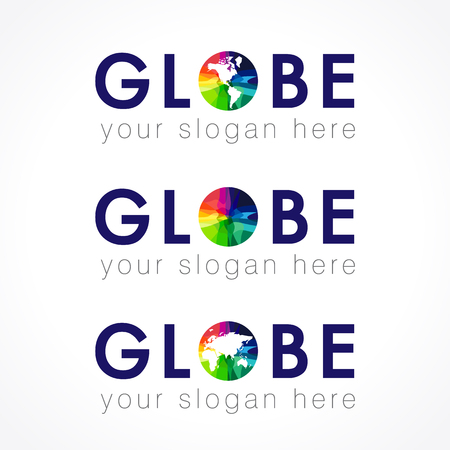 Globe company multi colored logo. Internet technologies, communications, connecting, global mission, geographic or environmental stained glass colors disk. Modern vector abstract lap, range template.