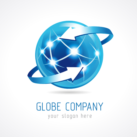 Globe company logo of connecting. Sign for Internet technologies, global missions, flying, communications and other businesses. Stained glass, around the earth. Illustration