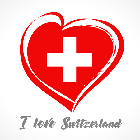 Love Switzerland flag emblem greeting card. Vector illustration for 1 st august Switzerland day lettering banner background with national flag colors in heart 向量圖像