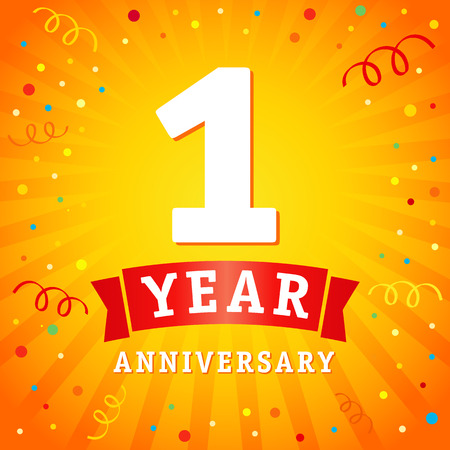 1 rok rocznica logo karta uroczystości. Tło wektor rocznica 1 roku z czerwoną wstążką i konfetti na żółty błysk promieniowe linie