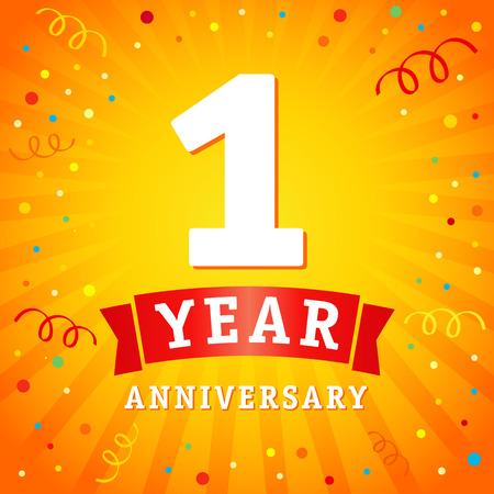 Carta di celebrazione logo 1 anno anniversario. Priorità bassa di vettore di 1 ° anno anniversario con nastro rosso e coriandoli su linee radiali flash gialli