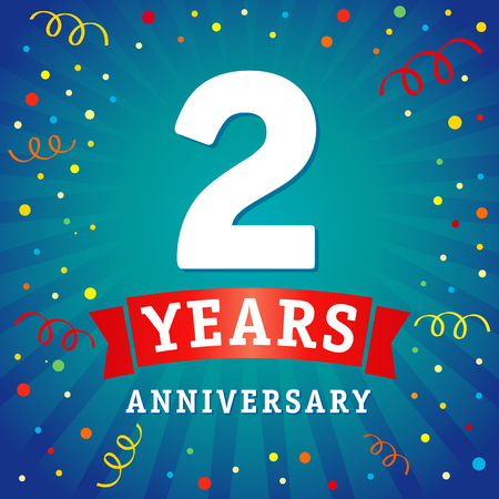 2 years anniversary logo celebration card. 2th years anniversary vector background with red ribbon and colored confetti on blue flash radial lines Illustration