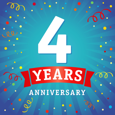 4 years anniversary logo celebration card. 4th anniversary anniversary vector background with red ribbon and colored confetti on blue flash radial lines
