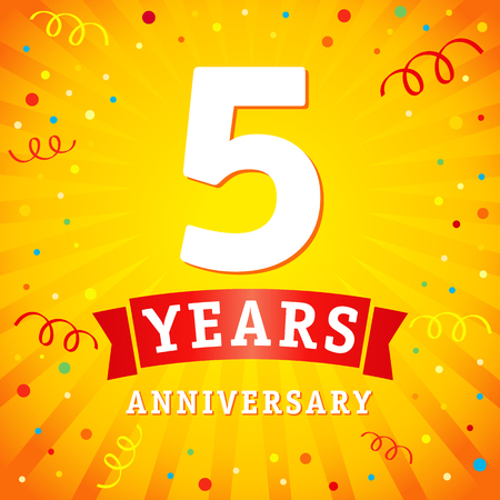 5 years anniversary logo celebration card. 5th anniversary anniversary vector background with red ribbon and colored confetti on yellow flash radial lines