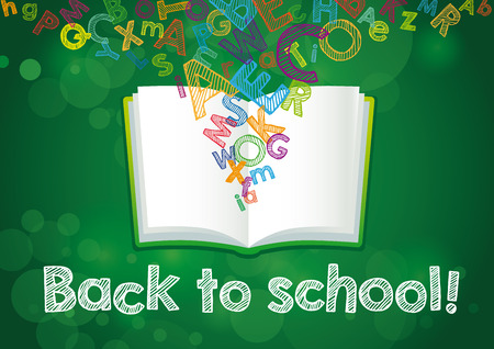 Back to School ABC book banner. Hand Drawn Back to School! Vector illustration on green chalkboard Illustration
