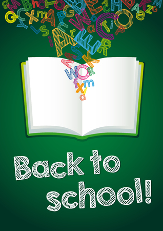 Back to School ABC book card. Hand Drawn chalk 일러스트