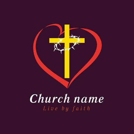 Kreuz und Dornen lieben Kirchenlogo. Kreuz und Dornen lieben Kirchenlogo. Christliche Organisationen eine Bibelschule Standard-Bild - 82030224