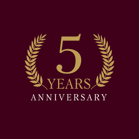 5 years old luxurious numbers. Congratulations 5th vector gold colored template sign frame of palms. Congratulating greetings. Celebrating traditional branches fifth template. Illustration
