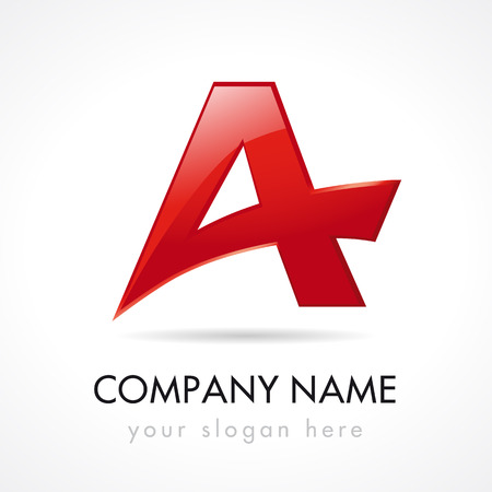 A letter logotype. A company. Traveling, logistics, typographic font, trucking. Editable stained glass branding red template elements.