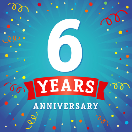 6 years anniversary logo celebration card. 6th years anniversary vector background with red ribbon and colored confetti on yellow flash radial lines