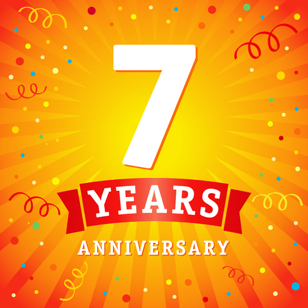 7 years anniversary logo celebration card. 7th years anniversary vector background with red ribbon and colored confetti on yellow flash radial lines