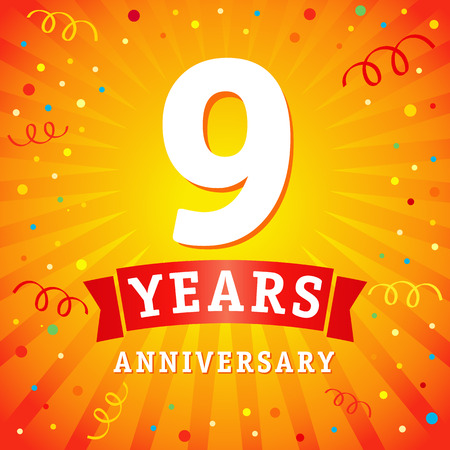 9 years anniversary logo celebration card. 9th years anniversary vector background with red ribbon and colored confetti on yellow flash radial lines Illustration
