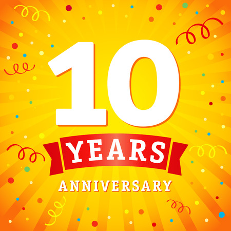 10 years anniversary logo celebration card. 10th years anniversary vector background with red ribbon and colored confetti on yellow flash radial lines