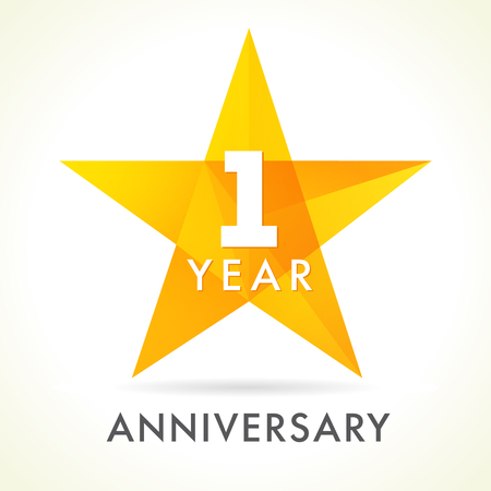 1 year anniversary star logo. 1st year anniversary golden vector sign facet star isolated on white background Illustration