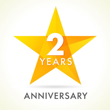 2 years anniversary star logo. 2th years anniversary golden vector sign facet star isolated on white background