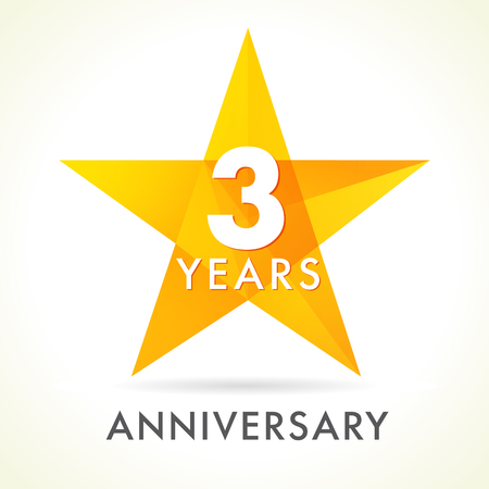 3 years anniversary star logo. 3th years anniversary golden vector sign facet star isolated on white background