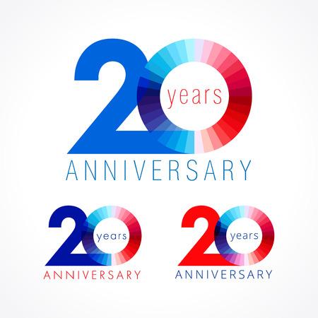 20 세 축하. 기념일 번호는 20 일입니다. 축하 로고 타입 빛나는. 인사말은 빨강, 파랑, 흰색의 색상을 맞 춥니 다. 얼룩진 자리 20, 0, 격리 된 템플릿 떨어