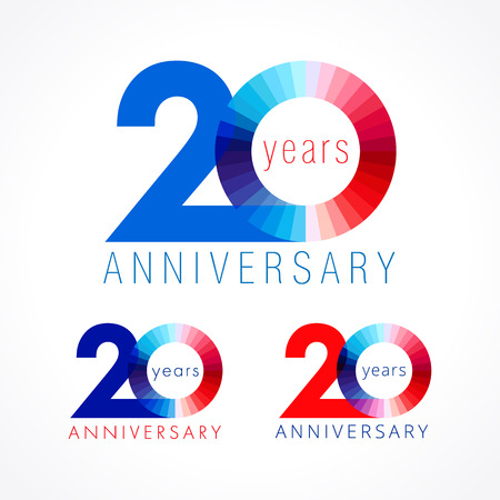 20 years old celebrating. Anniversary numbers 20 th. Shining congratulating logotype. Greetings celebrates set red, blue, white colors. Stained digit twenty, 0,% off isolated template. Vectores