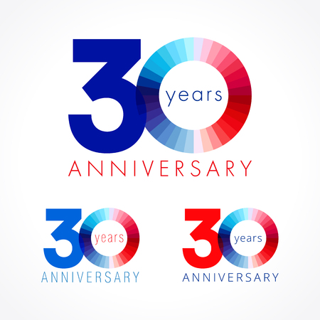 30 years old celebrating. Anniversary numbers 30 th. Shining congratulating logotype. Greetings celebrates set red, blue, white colors. Stained digit thirty, 0,% off isolated template.