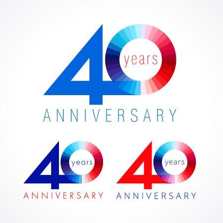 40 jaar oud vieren. Jubileumnummers 40 th. Glanzende felicitatielogotype. Groeten vieren set rode, blauwe, witte kleuren. Stained cijfer veertig, 0,% off geïsoleerd sjabloon. Logo