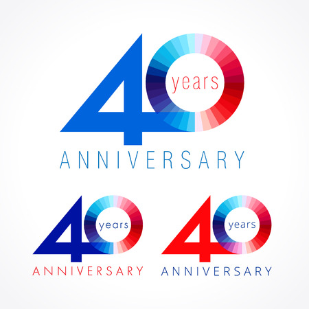 40 years old celebrating. Anniversary numbers 40 th. Shining congratulating logotype. Greetings celebrates set red, blue, white colors. Stained digit forty, 0,% off isolated template. Illustration