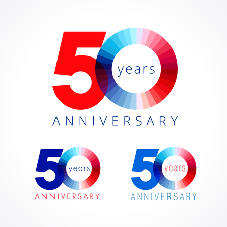 50 years old. Anniversary numbers 50 th. Shining congratulating logotype. Greetings celebrates set red, blue, white colors. Stained digit fifty, 0,% off isolated template.