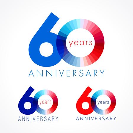 60 ans. Numéros d'anniversaire 60 e. Shining félicitant le logotype. Salutations célèbre définir les couleurs rouge, bleu et blanc. Chiffre coloré soixante, 0,% de modèle isolé. Banque d'images - 82811705