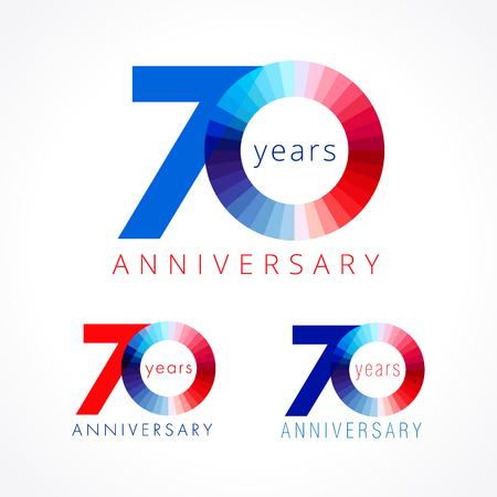 70 ans en fête. Numéros d'anniversaire 70 e. Shining félicitant le logotype. Salutations célèbre définir les couleurs rouge, bleu et blanc. Chiffre coloré soixante-dix, 0,% de modèle isolé. Banque d'images - 82795787