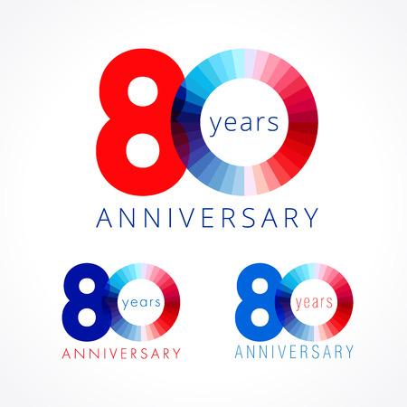 80 ans. Les numéros d'anniversaire 80 e. Brillant logo félicitant. Salutations célèbre les couleurs rouges, bleues et blanches. Chiffre coloré quatre-vingt, 0,% sur un modèle isolé. Banque d'images - 82793301