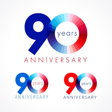 90 ans en fête. Numéros d'anniversaire 90 e. Shining félicitant le logotype. Salutations célèbre définir les couleurs rouge, bleu et blanc. Chiffre coloré quatre-vingt-dix, 0%, modèle isolé. Banque d'images - 82796100