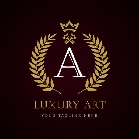 """Korona z logo luksusowej marki """"A"""" z logo monogramu. Laurel piękna korona z kluczem i kluczem. Wektor listu emblemat znak A dla Royalty, restauracja, butik, hotel, heraldyczny, biżuteria Logo"""