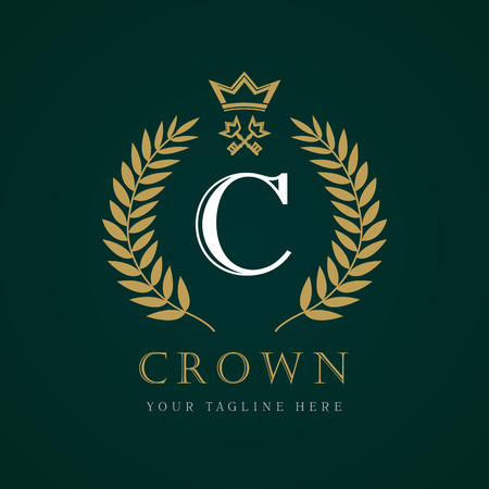 Luxury Crown calligraphic key letter C monogram logo. Laurel beautiful crown with key and key. Vector letter emblem sign C for Royalty, Restaurant, Boutique, Hotel, Heraldic, Jewelry Illustration