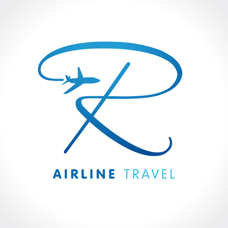 r transportation: R letter travel company logo. Airline business travel logo design with letter r. Travel vector logo template Illustration