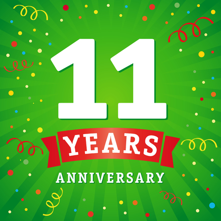 11 years anniversary logo celebration card. 11th years anniversary vector background with red ribbon and colored confetti on green flash radial lines Illustration