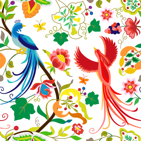 Folk pattern birds, flowers, leaf and grape branches in vintage style, isolated on white background. Hand drawn vector illustration set with ethnic peacocks and flowers, separated editable elements