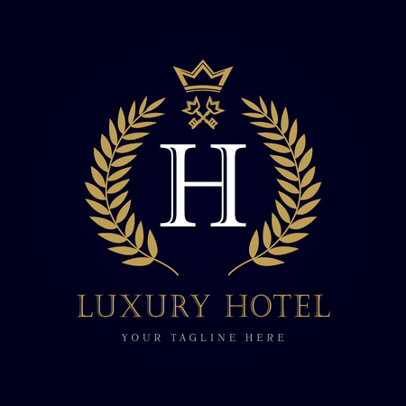 Luxury Hotel crown and key letter H monogram logo. Laurel beautiful crown with key and key. Vector letter emblem sign H for Royalty, Restaurant, Boutique, Hotel, Heraldic, Jewelry