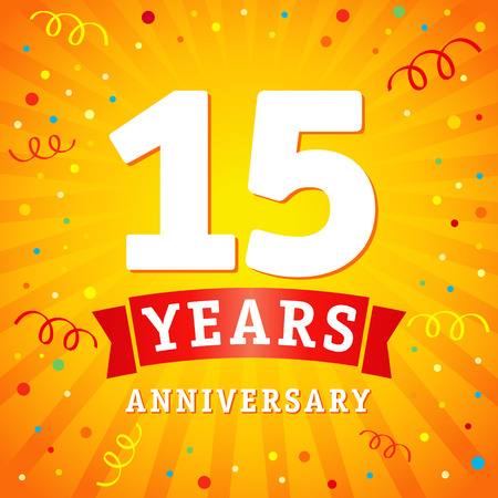 15 years anniversary logo celebration card. 15th years anniversary vector background with red ribbon and colored confetti on yellow flash radial lines.