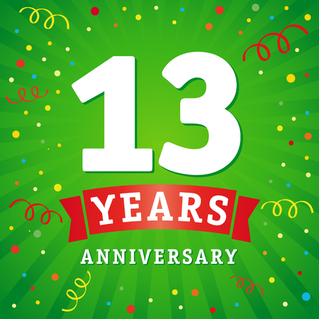 13 years anniversary logo celebration card. 13th years anniversary vector background with red ribbon and colored confetti on green flash radial lines. Illustration