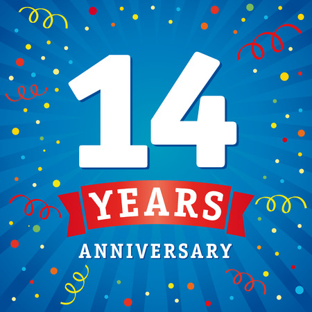 14 years anniversary logo celebration card. 14th years anniversary vector background with red ribbon and colored confetti on blue flash radial lines Illustration