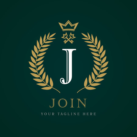 Luxury Crown & key calligraphic letter J monogram logo. Laurel beautiful crown with key and key. Vector letter emblem sign J for Royalty, Restaurant, Boutique, Hotel, Heraldic, Jewelry Illustration