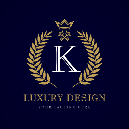 Luxury calligraphic letter K crown & key monogram logo. Laurel beautiful crown with key and key. Vector letter emblem sign K for Royalty, Restaurant, Boutique, Hotel, Heraldic, Jewelry